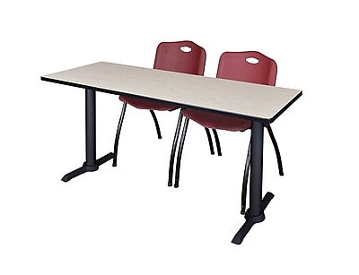 Regency 72-inch Metal & Wood Cain Maple Training Table with Stack Chairs, Burgundy