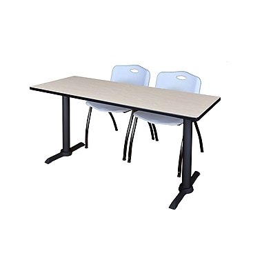 Regency Cain 72'' Rectangular Training Table and Chairs, Maple with Stack Chairs (MTRCT7224PL47GY)