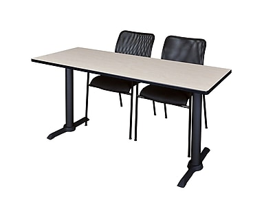 Regency 72'' Rectangular Training Table and Chairs, Maple w/ Mario Chairs (MTRCT7224PL75BK)