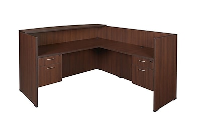 Regency Sandia Lockdowel Reception Desk with Return & Pedestals, Java
