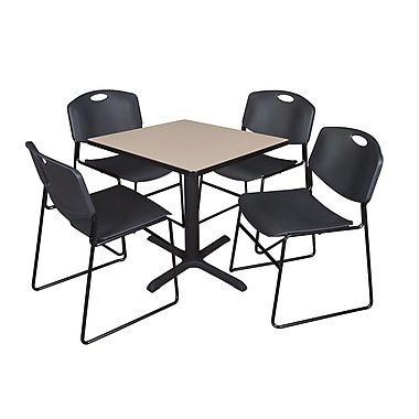 Regency 30-inch Training & Hospitality Square Laminate Table with 4 Chairs, Black