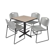 Regency 30-inch Square Laminate Table with 4 Chairs, Grey