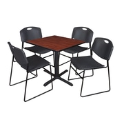 Regency 30-inch Square Laminate Table with Chairs, Black