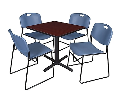 Regency 30-inch Laminate Square Table with 4 Chairs, Mahogany & Blue