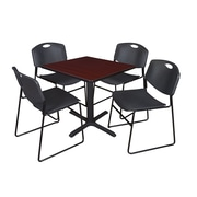 Regency 30-inch Laminate Square Table with 4 Chairs, Mahogany & Black