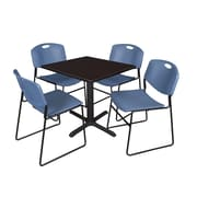 "Regency Cain 30"" Square Break Room Table, Mocha Walnut and 4 Zeng Stack Chairs, Blue (TB3030MW44BE)"