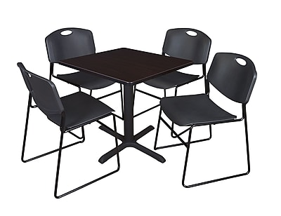 Regency 36-inch Square Table with 4 Chairs, Black