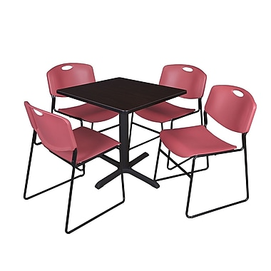 Regency 36-inch Square Table with 4 Chairs, Burgundy