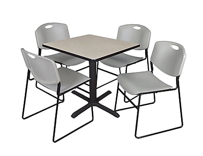 Regency 30-inch Square Table with 4 Chairs, Maple & Gray