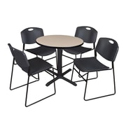 Regency 30-inch Round Table with 4 Chairs, Beige & Black