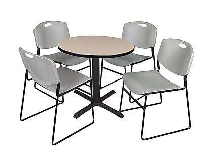 Regency 30-inch Round Table with 4 Chairs, Beige & Gray