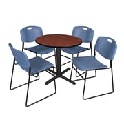 Regency 30-inch Round Laminate Table with 4 Chairs, Cherry & Blue