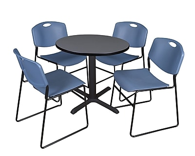 Regency 30-inch Laminate Round Table with 4 Chairs, Gray & Blue