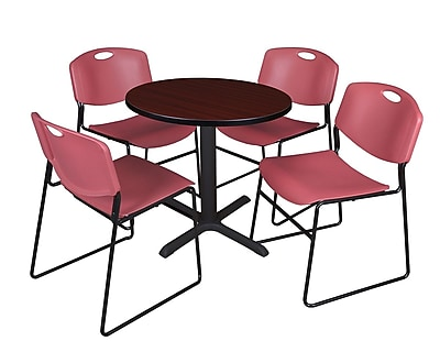 Regency 30-inch Laminate Round Table with 4 Zeng Stack Chairs, Mahogany & Burgundy