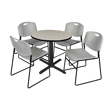 Regency 42-inch Round Table with 4 Chairs Maple & Gray
