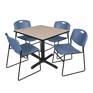 Regency 36-inch Square Table with 4 Chairs, Beige & Blue