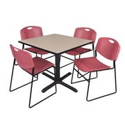 "Regency Cain 36"" Square Breakroom Table with 4 Zeng Stack Chairs, Beige Table and Burgundy Chairs (TB3636BE44BY)"