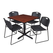 "Regency Cain 36"" Square Break Room Table, Cherry and 4 Zeng Stack Chairs, Black (TB3636CH44BK)"