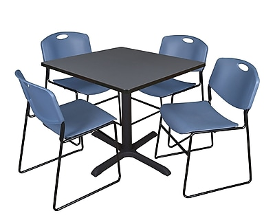 Regency 36-inch Laminate Square Table with 4 Chairs, Blue