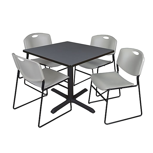 Regency 36-inch Laminate Square Table with 4 Chairs, Grey