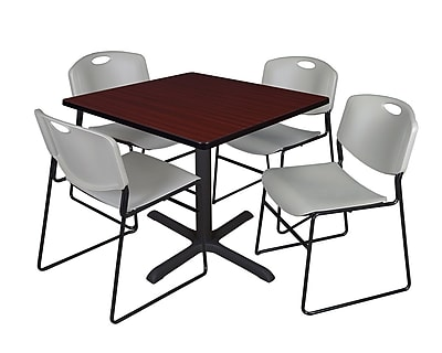Regency 36-inch Square Laminate Table with 4 Chairs, Gray (TB3636MH44GY)