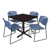 Regency 36-inch Square Laminate Table with 4 Chairs, Mocha Walnut & Blue