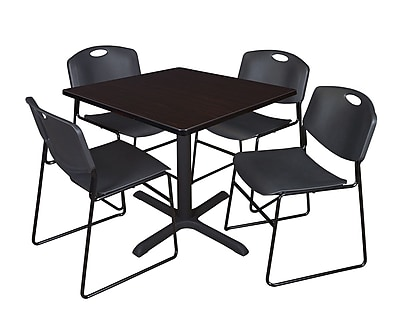 Regency 36-inch Square Laminate Table with 4 Chairs, Mocha Walnut & Black