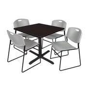 Regency 36-inch Square Laminate Table with 4 Chairs, Mocha Walnut & Grey