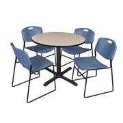 Regency 36-inch Round Laminate Table with 4 Chairs, Blue