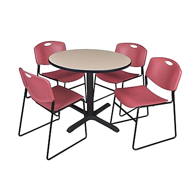 Regency 36-inch Round Laminate Table with 4 Chairs, Burgundy