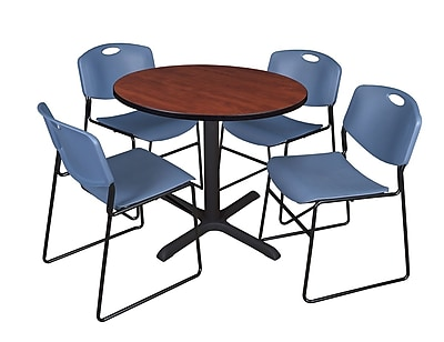 Regency 36-inch Laminate Round Table with 4 Chairs, Blue