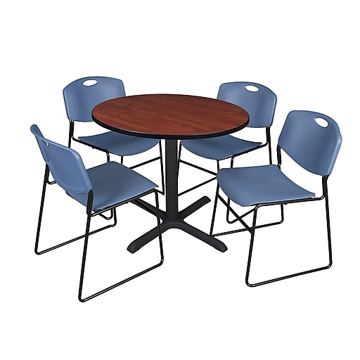 Regency Inch Laminate Round Table With Chairs Blue Staples - 36 inch conference table
