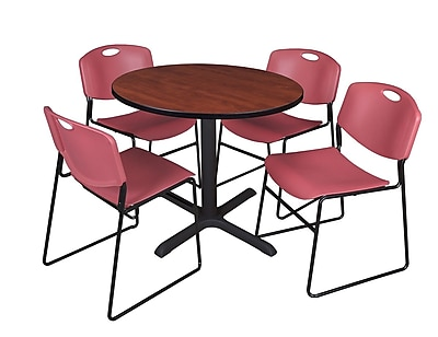 Regency Uncheck 36-inch Laminate Round Table with 4 Chairs, Burgundy