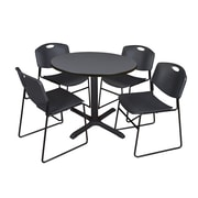 "Regency Cain 36"" Round Breakroom Table, Gray and 4 Zeng Stack Chairs, Black (TB36RNDGY44BK)"