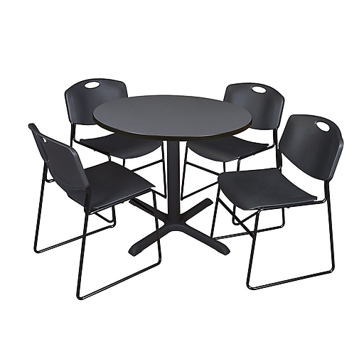 "Regency Cain Breakroom Table, 36""W, Gray & 4 Zeng Stack Chairs, Black (TB36RNDGY44BK)"