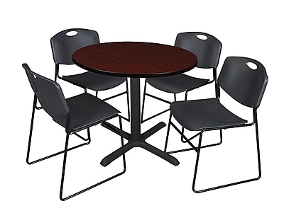Regency 36-inch Round Laminate Table with 4 Chairs, Black