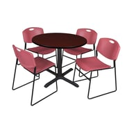 """Regency Cain 36"""" Round Break Room Table, Mahogany and 4 Zeng Stack Chairs, Burgundy (TB36RNDMH44BY)"""