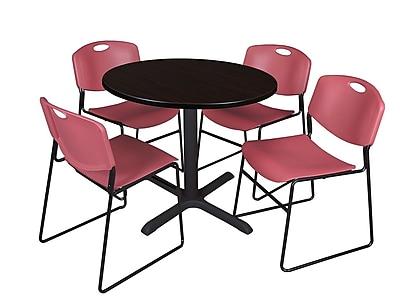 Regency 36-inch Laminate Round Shape Table with 4 Chairs, Mocha Walnut & Burgundy