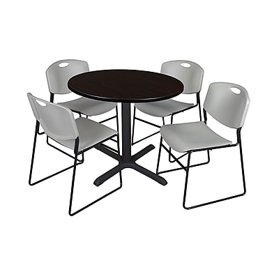 Regency 36-inch Laminate Round Shape Table with 4 Chairs, Mocha Walnut & Gray