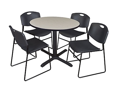 Regency 36-inch Round Shape Laminate Table with 4 Chairs, Black