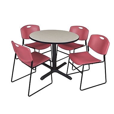 Regency 36-inch Round Shape Laminate Table with 4 Chairs, Burgundy