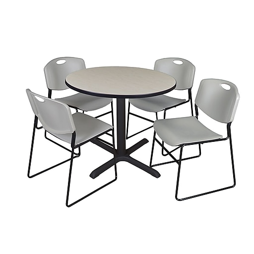 """Regency Cain 36"""" Round Break Room Table, Maple and 4 Zeng Stack Chairs, Gray (TB36RNDPL44GY)"""