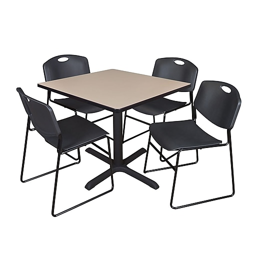 Regency 42-inch Square Laminate Table with 4 Chairs, Black