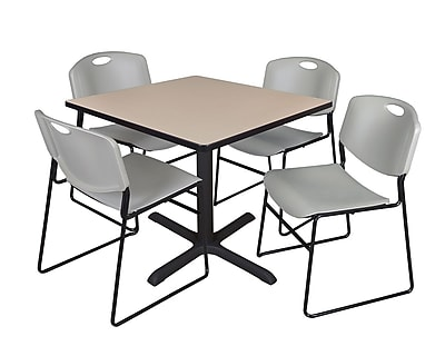 Regency 42-inch Square Laminate Table with 4 Chairs, Gray (TB4242BE44GY)