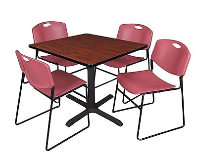 Regency 42-inch Square Laminate Table with 4 Chairs, Cherry & Burgundy
