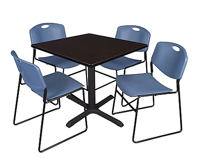 Regency 42-inch Training & Hospitality Laminate Square Table with 4 Chairs, Blue