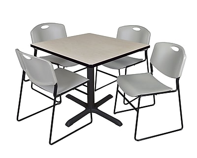 Regency 42-inch Laminate Square Table with 4 Chairs, Gray