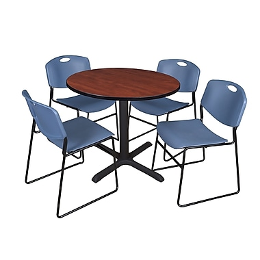 Regency 42-inch Round Table with Cain Base & 4 Zeng Stack Chairs, Cherry & Blue