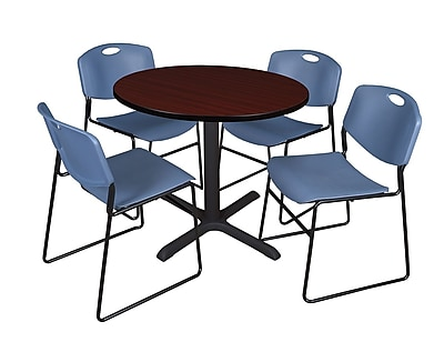 Regency 42-inch Round Laminate Table with Zeng Stack Chairs, Blue
