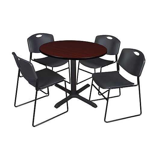 Regency 42-inch Round Laminate Table with Zeng Stack Chairs, Black